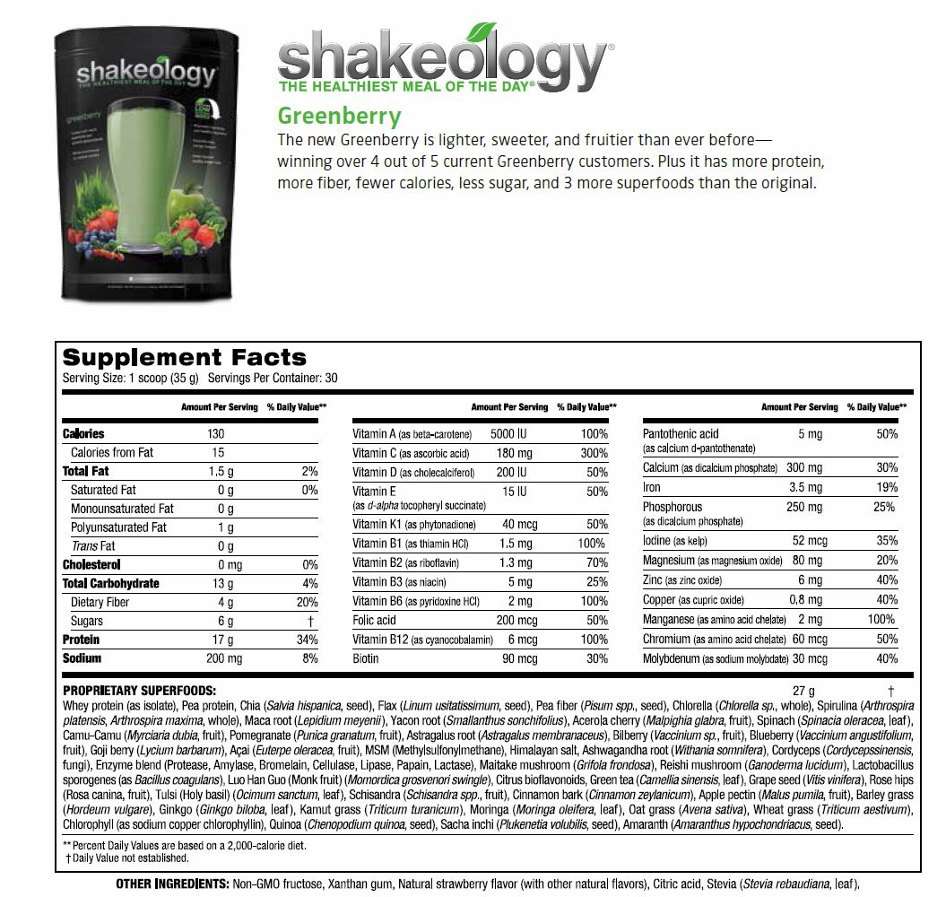Greenberry Shakeology Supplemental Facts, Greenberry Shakeology Ingredients, Marissa F Myers