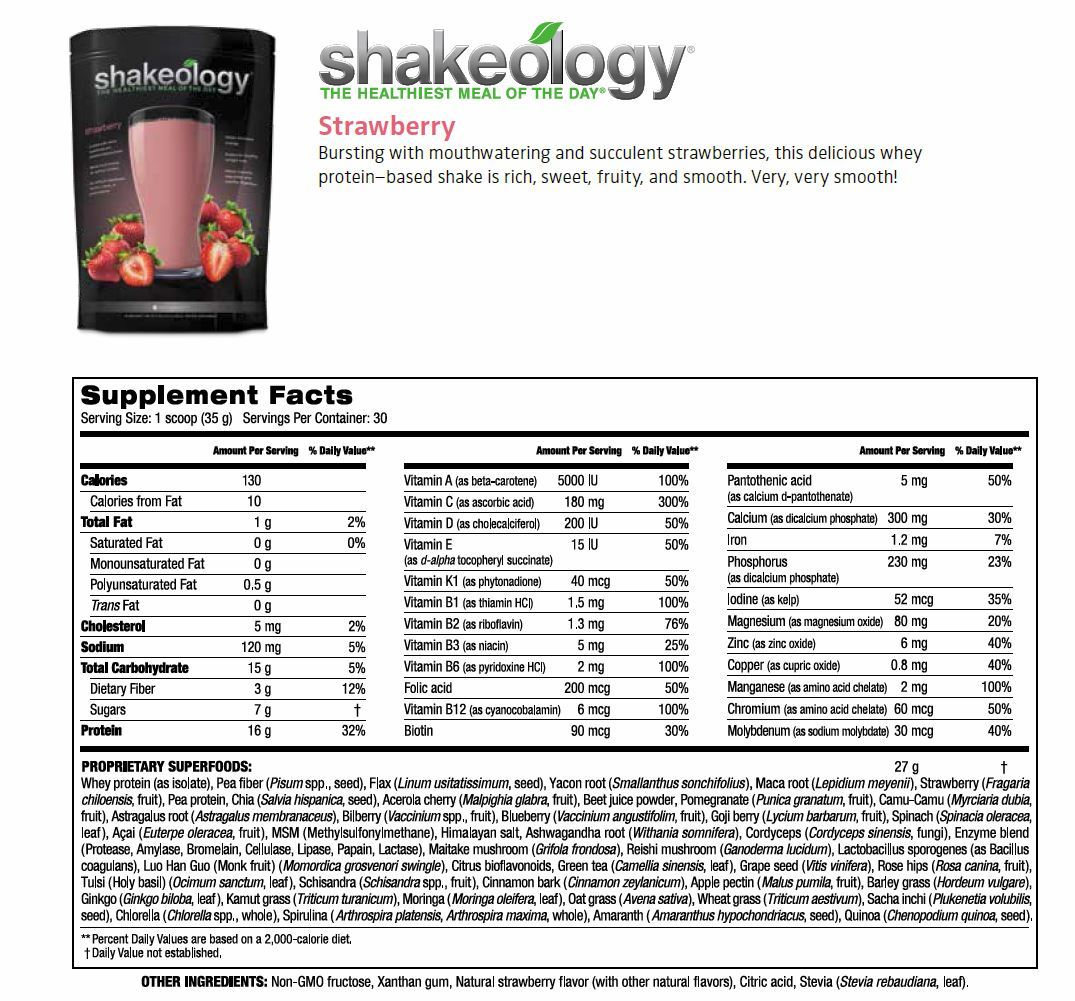 Strawberry Shakeology, Strawberry Shakeology Supplemental Facts, Marissa F Myers